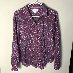 Anthropologie Maeve purple floral button up top
